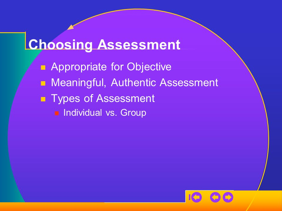 Choosing Assessment Appropriate for Objective Meaningful, Authentic Assessment Types of Assessment Individual vs.
