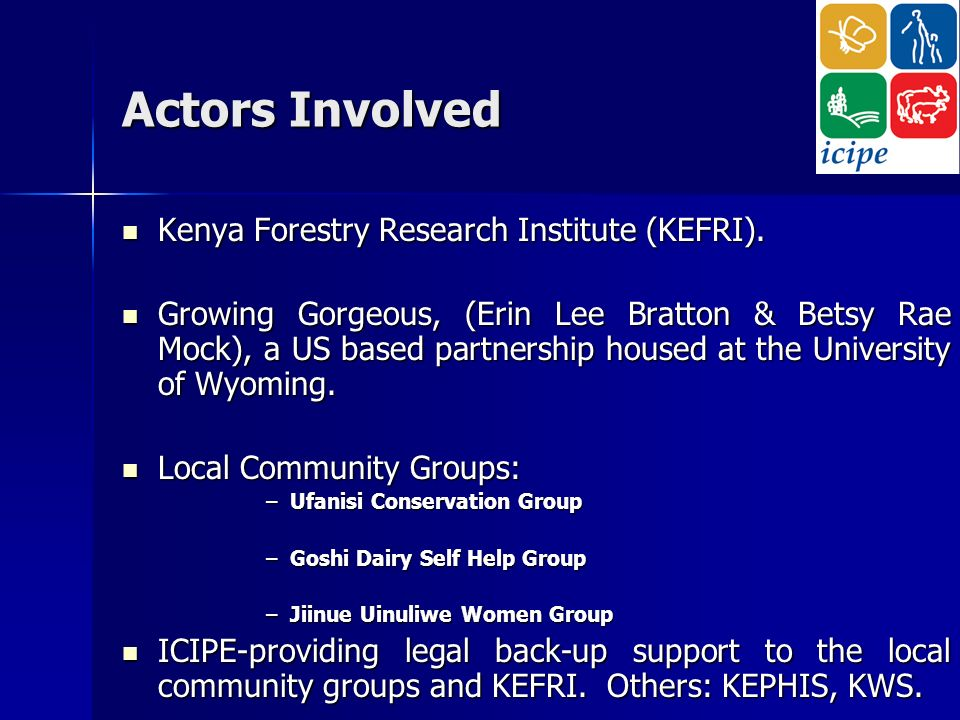 Actors Involved Kenya Forestry Research Institute (KEFRI).