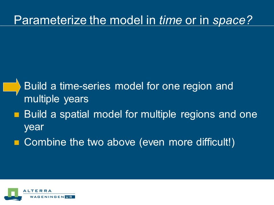 Parameterize the model in time or in space.