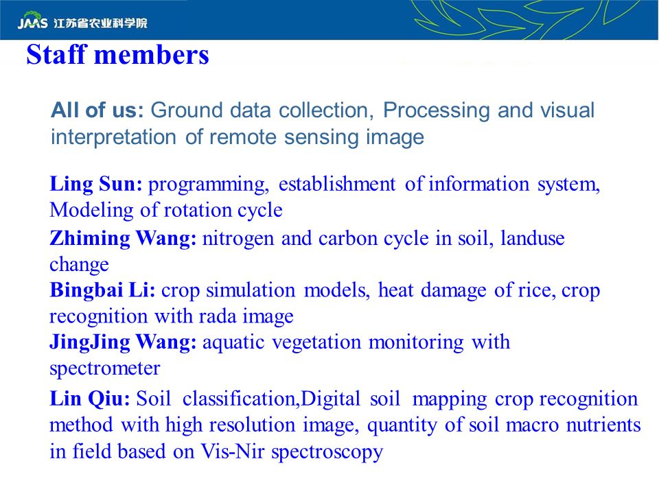 Staff members All of us: Ground data collection, Processing and visual interpretation of remote sensing image Ling Sun: programming, establishment of information system, Modeling of rotation cycle Zhiming Wang: nitrogen and carbon cycle in soil, landuse change Bingbai Li: crop simulation models, heat damage of rice, crop recognition with rada image JingJing Wang: aquatic vegetation monitoring with spectrometer Lin Qiu: Soil classification,Digital soil mapping crop recognition method with high resolution image, quantity of soil macro nutrients in field based on Vis-Nir spectroscopy