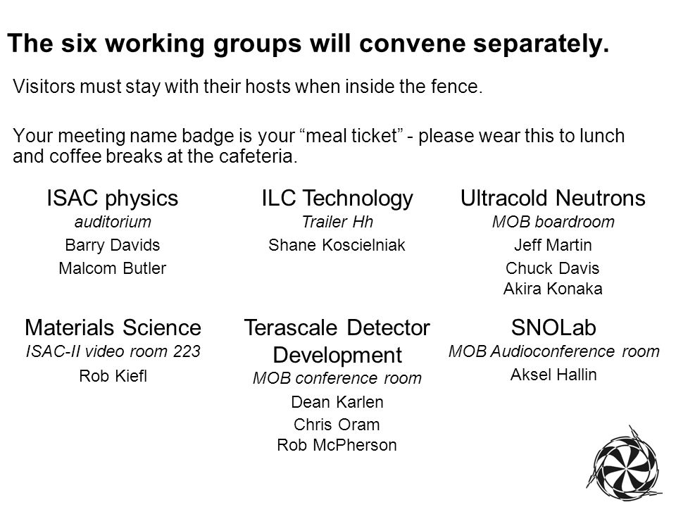 The six working groups will convene separately.