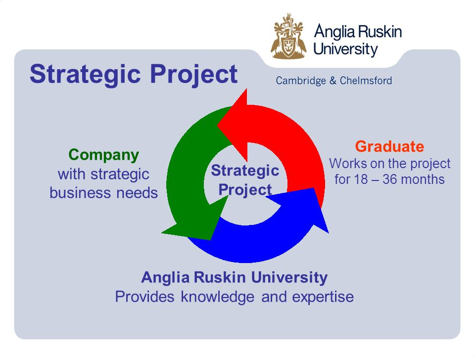 Strategic Project Graduate Works on the project for 18 – 36 months Company with strategic business needs Anglia Ruskin University Provides knowledge and expertise Strategic Project