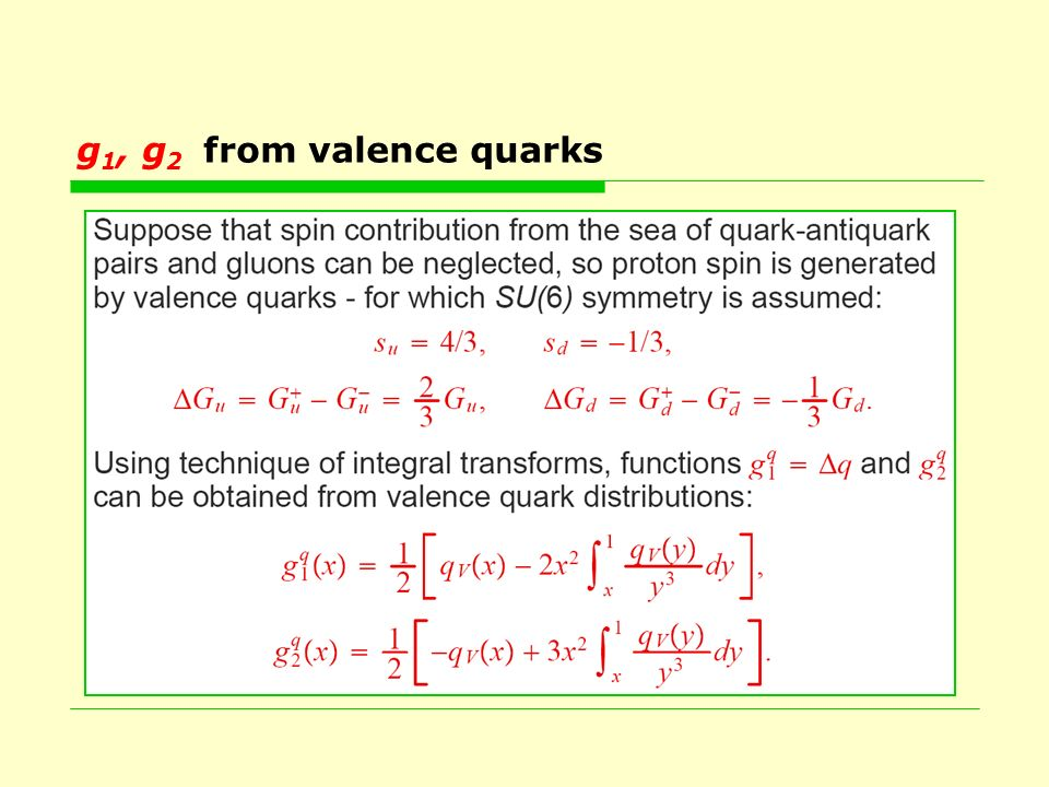 g 1, g 2 from valence quarks