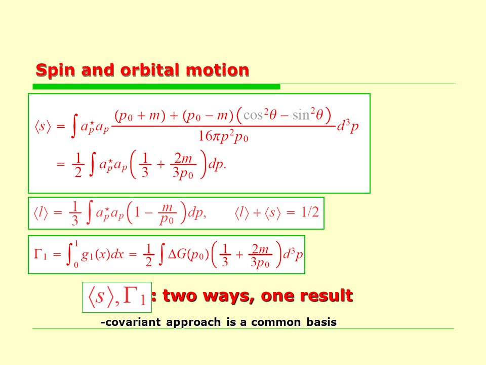 Spin and orbital motion, Γ 1 : two ways, one result, Γ 1 : two ways, one result -covariant approach is a common basis