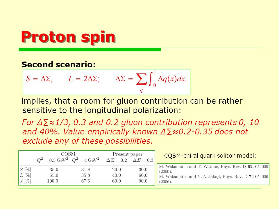 Proton spin Second scenario: implies, that a room for gluon contribution can be rather sensitive to the longitudinal polarization: For 1/3, 0.3 and 0.2 gluon contribution represents 0, 10 and 40%.