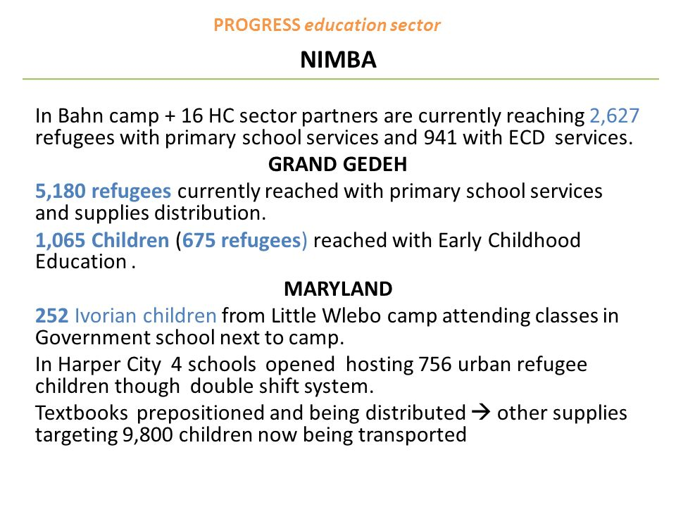 PROGRESS education sector NIMBA In Bahn camp + 16 HC sector partners are currently reaching 2,627 refugees with primary school services and 941 with ECD services.