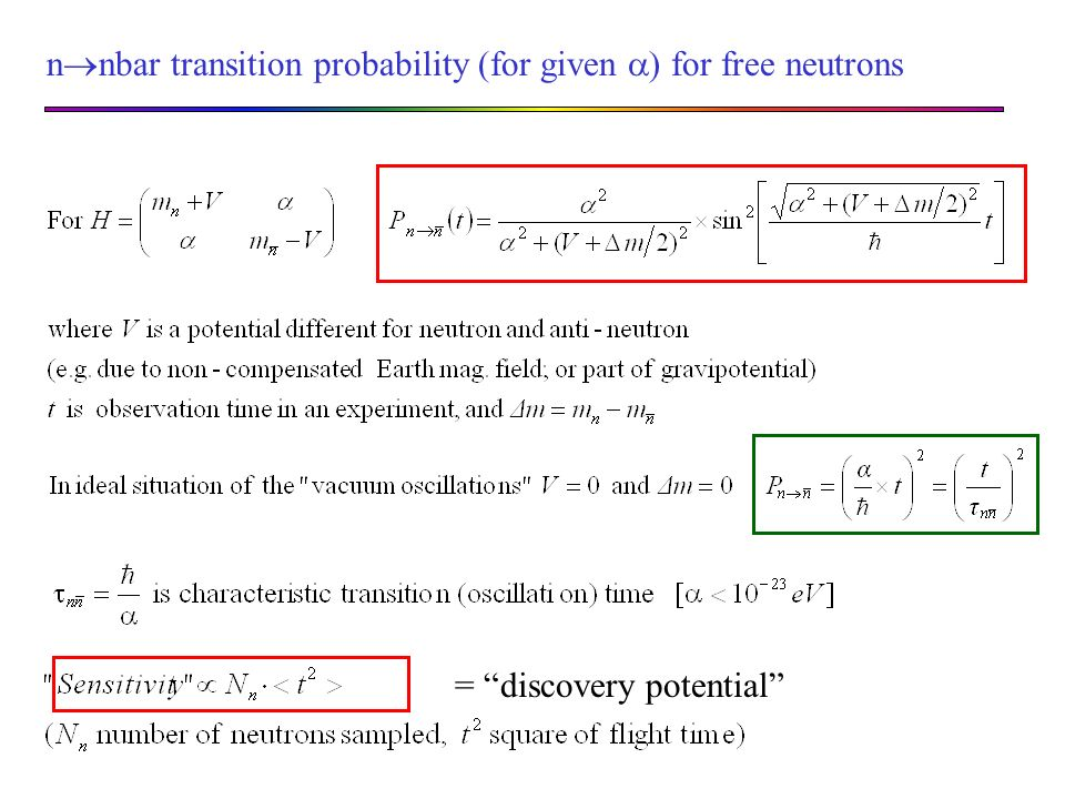 n nbar transition probability (for given ) for free neutrons = discovery potential