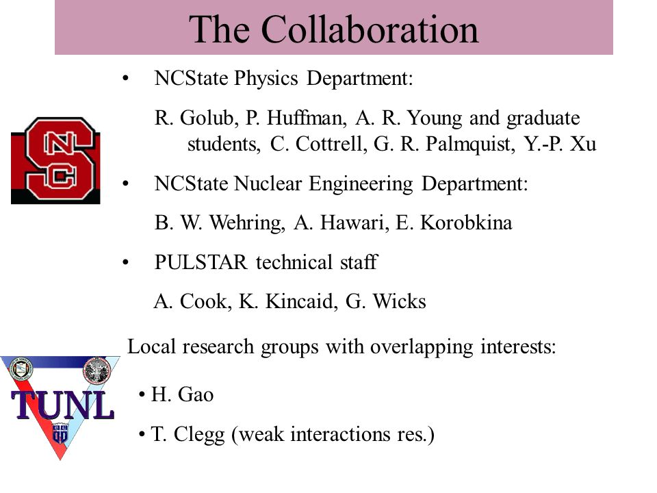 The Collaboration NCState Physics Department: R. Golub, P.