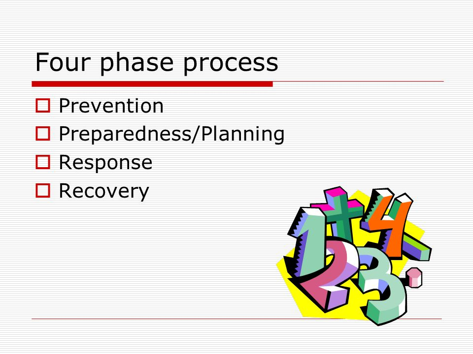 Four phase process Prevention Preparedness/Planning Response Recovery