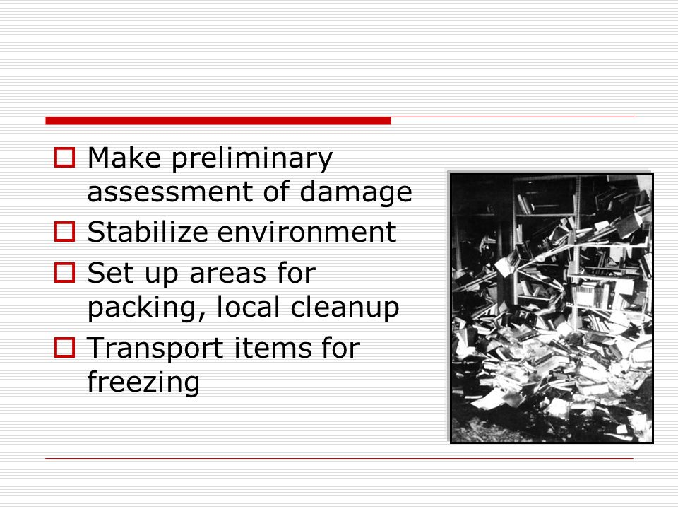 Make preliminary assessment of damage Stabilize environment Set up areas for packing, local cleanup Transport items for freezing
