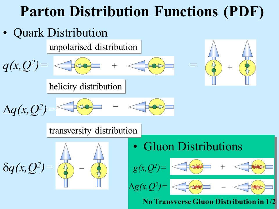 Parton Distribution Functions (PDF) Quark Distribution q(x,Q 2 )= = unpolarised distribution helicity distribution g(x,Q 2 )= No Transverse Gluon Distribution in 1/2 Gluon Distributions transversity distribution