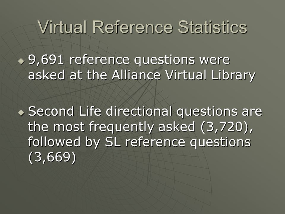 Virtual Reference Statistics 9,691 reference questions were asked at the Alliance Virtual Library 9,691 reference questions were asked at the Alliance Virtual Library Second Life directional questions are the most frequently asked (3,720), followed by SL reference questions (3,669) Second Life directional questions are the most frequently asked (3,720), followed by SL reference questions (3,669)