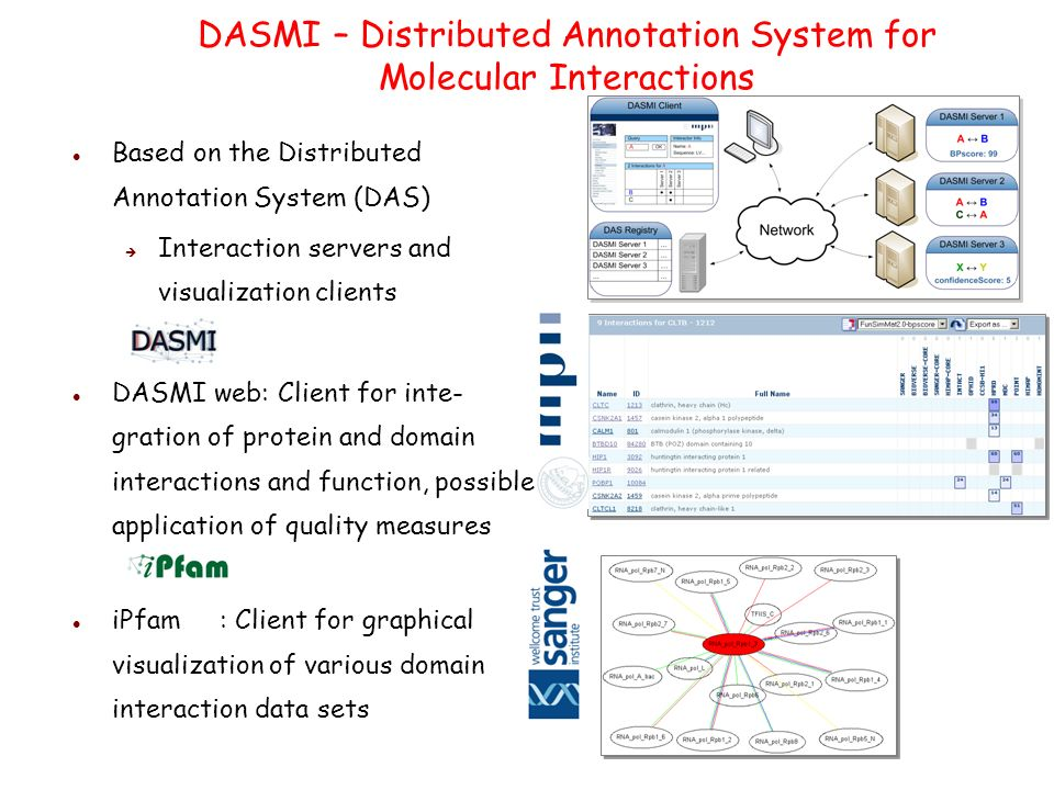 DASMI – Distributed Annotation System for Molecular Interactions Based on the Distributed Annotation System (DAS) Interaction servers and visualization clients DASMI web: Client for inte- gration of protein and domain interactions and function, possible application of quality measures iPfam : Client for graphical visualization of various domain interaction data sets
