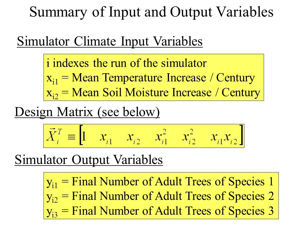 i indexes the run of the simulator x i1 = Mean Temperature Increase / Century x i2 = Mean Soil Moisture Increase / Century y i1 = Final Number of Adult Trees of Species 1 y i2 = Final Number of Adult Trees of Species 2 y i3 = Final Number of Adult Trees of Species 3 Simulator Climate Input Variables Design Matrix (see below) Simulator Output Variables Summary of Input and Output Variables