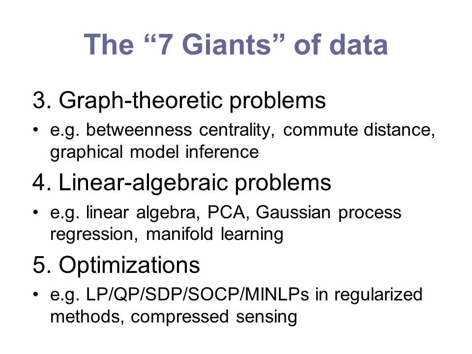 The 7 Giants of data 3. Graph-theoretic problems e.g.