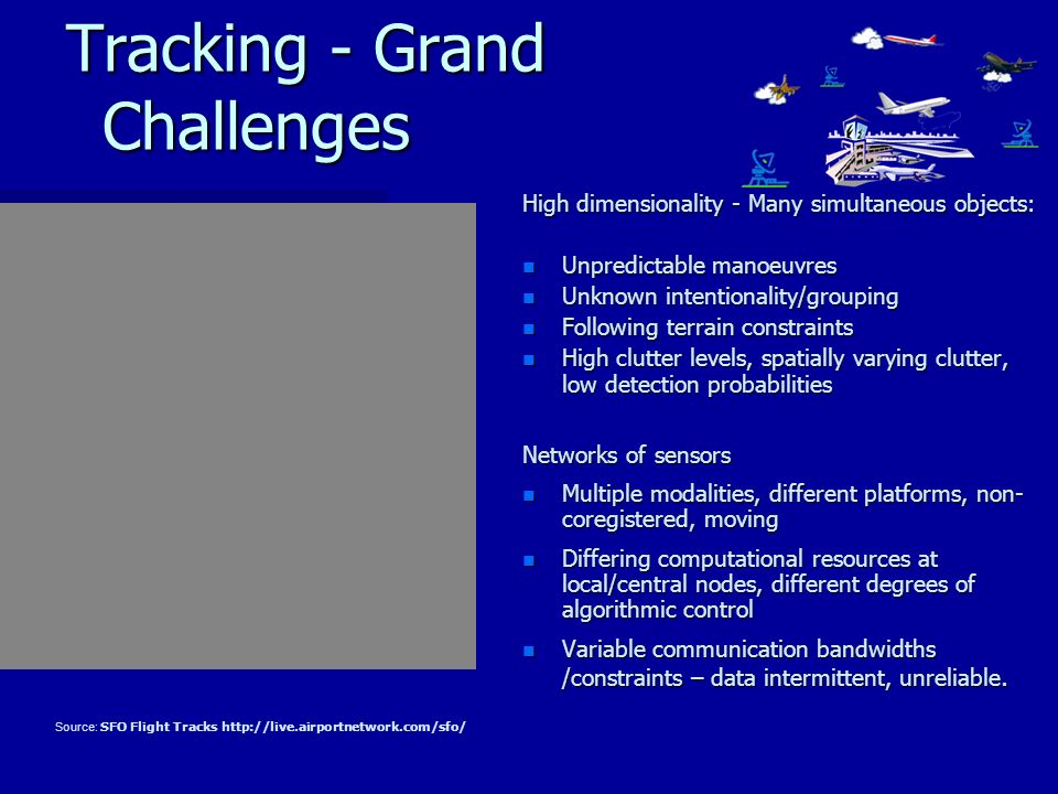 Tracking - Grand Challenges Tracking - Grand Challenges High dimensionality - Many simultaneous objects: n Unpredictable manoeuvres n Unknown intentionality/grouping n Following terrain constraints n High clutter levels, spatially varying clutter, low detection probabilities Networks of sensors n Multiple modalities, different platforms, non- coregistered, moving n Differing computational resources at local/central nodes, different degrees of algorithmic control n Variable communication bandwidths /constraints – data intermittent, unreliable.