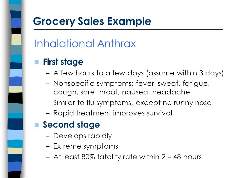 Inhalational Anthrax First stage –A few hours to a few days (assume within 3 days) –Nonspecific symptoms: fever, sweat, fatigue, cough, sore throat, nausea, headache –Similar to flu symptoms, except no runny nose –Rapid treatment improves survival Second stage –Develops rapidly –Extreme symptoms –At least 80% fatality rate within 2 – 48 hours Grocery Sales Example
