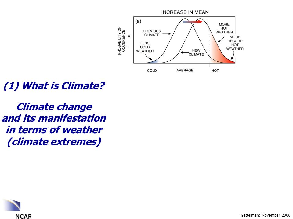 Gettelman: November 2006 Climate change and its manifestation in terms of weather (climate extremes) (1) What is Climate