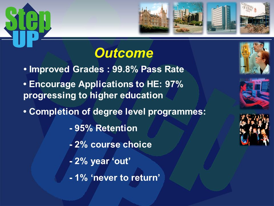 Outcome Improved Grades : 99.8% Pass Rate Encourage Applications to HE: 97% progressing to higher education Completion of degree level programmes: - 95% Retention - 2% course choice - 2% year out - 1% never to return