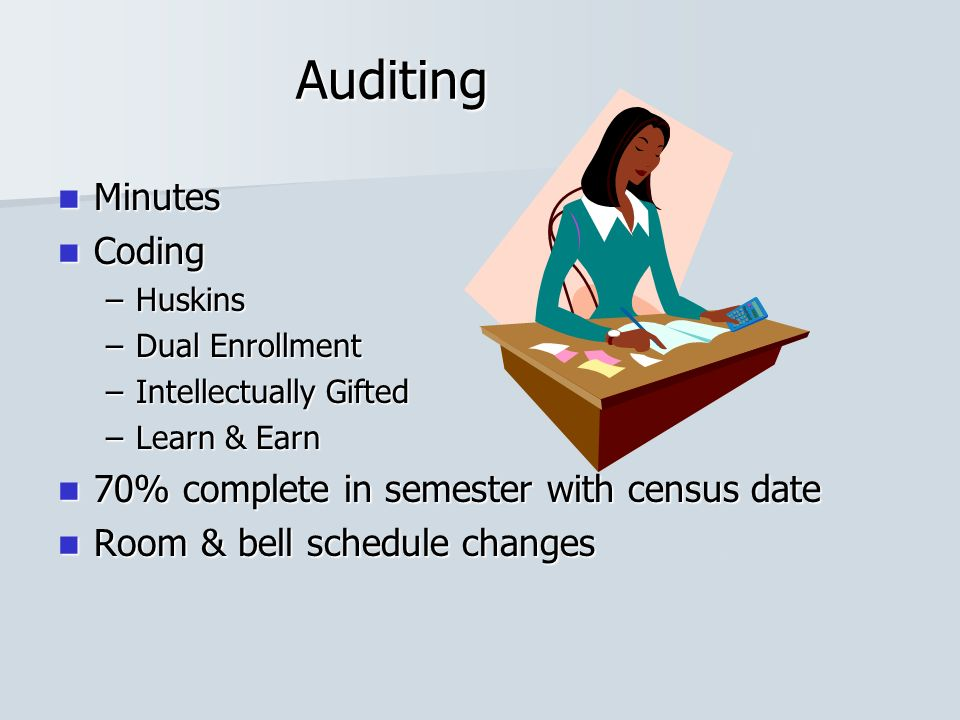 Auditing Minutes Minutes Coding Coding –Huskins –Dual Enrollment –Intellectually Gifted –Learn & Earn 70% complete in semester with census date 70% complete in semester with census date Room & bell schedule changes Room & bell schedule changes