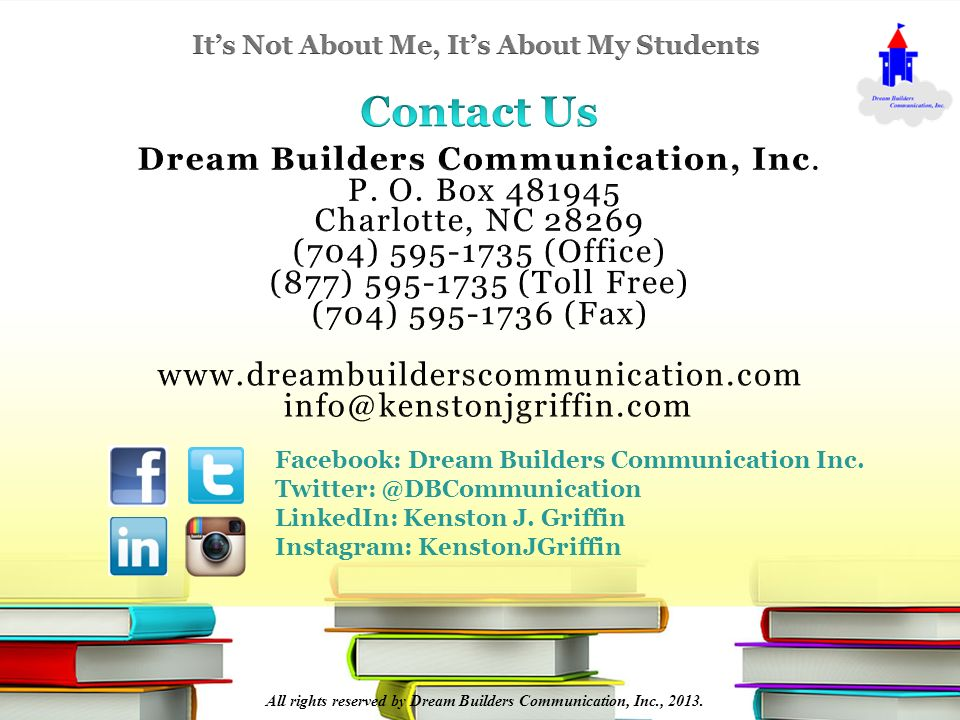 All rights reserved by Dream Builders Communication, Inc., 2013.