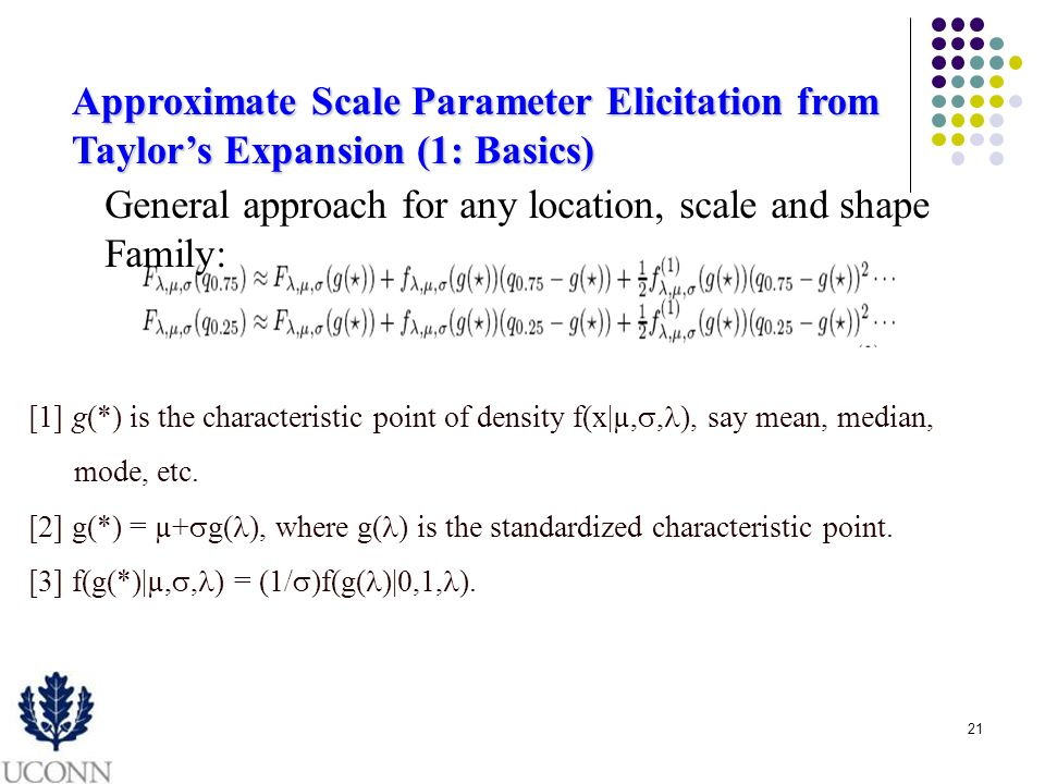 21 Approximate Scale Parameter Elicitation from Taylors Expansion (1: Basics) [1] g(*) is the characteristic point of density f(x|µ,, ), say mean, median, mode, etc.