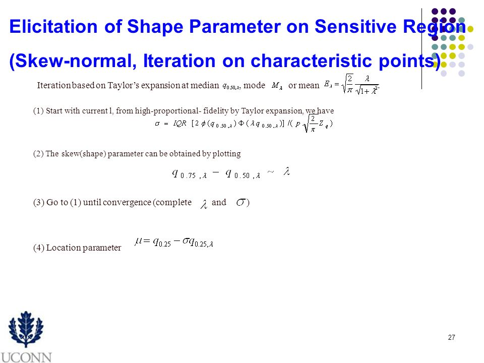27 Elicitation of Shape Parameter on Sensitive Region (Skew-normal, Iteration on characteristic points) Iteration based on Taylors expansion at median, mode or mean.
