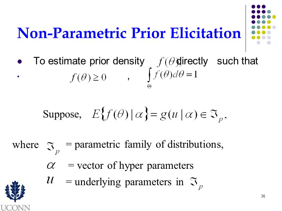 36 Non-Parametric Prior Elicitation To estimate prior density directly such that, Suppose, where = parametric family of distributions, = vector of hyper parameters = underlying parameters in