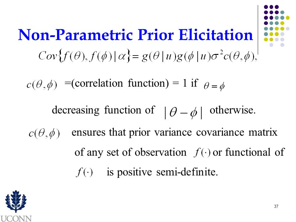 37 Non-Parametric Prior Elicitation =(correlation function) = 1 if decreasing function of ensures that prior variance covariance matrix of any set of observation otherwise.