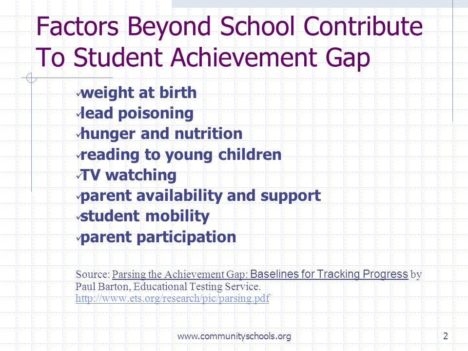 www.communityschools.org2 Factors Beyond School Contribute To Student Achievement Gap weight at birth lead poisoning hunger and nutrition reading to young children TV watching parent availability and support student mobility parent participation Source: Parsing the Achievement Gap: Baselines for Tracking Progress by Paul Barton, Educational Testing Service.