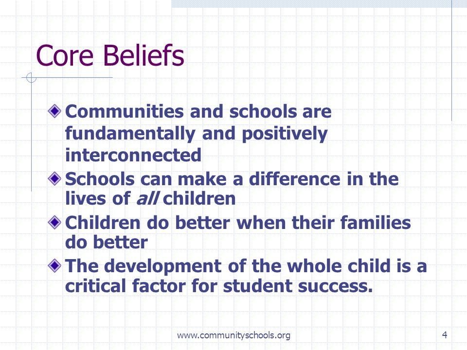 www.communityschools.org4 Core Beliefs Communities and schools are fundamentally and positively interconnected Schools can make a difference in the lives of all children Children do better when their families do better The development of the whole child is a critical factor for student success.