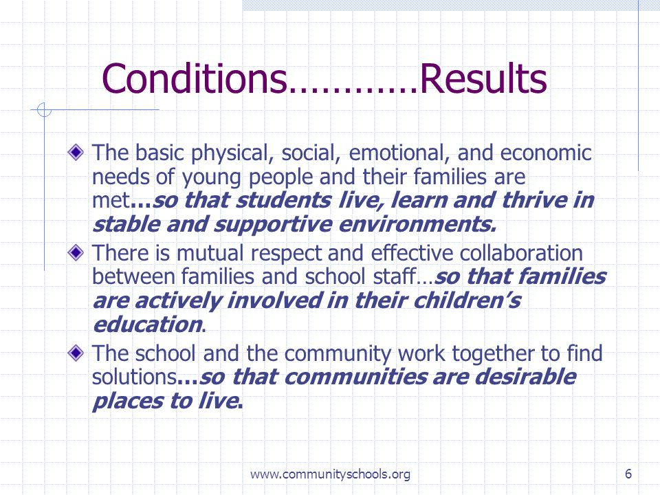 www.communityschools.org6 Conditions…………Results The basic physical, social, emotional, and economic needs of young people and their families are met…so that students live, learn and thrive in stable and supportive environments.