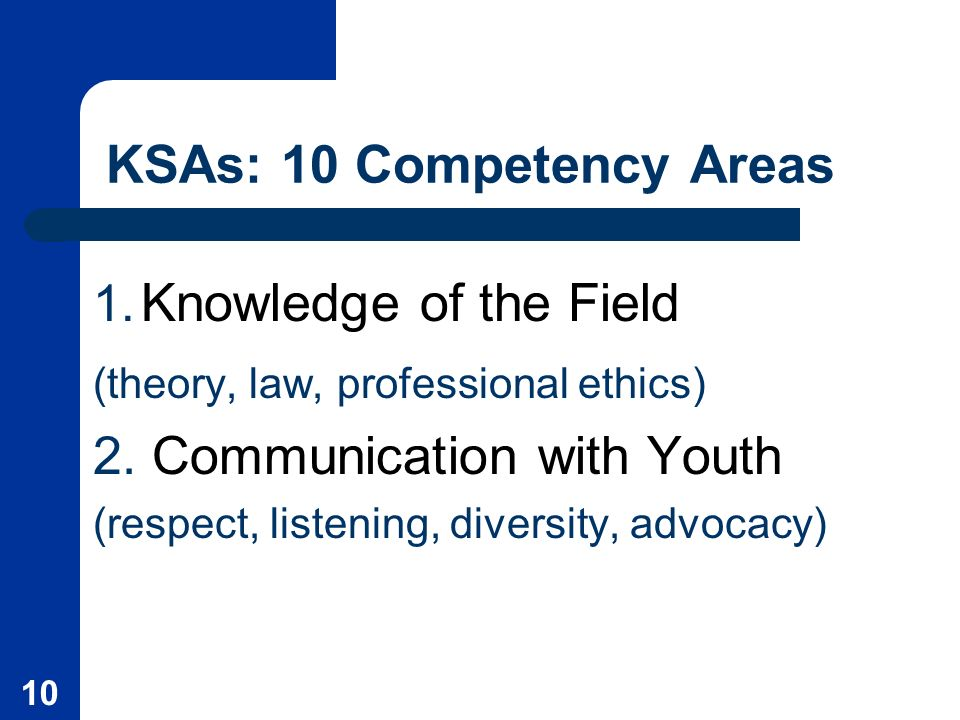 10 KSAs: 10 Competency Areas 1. Knowledge of the Field (theory, law, professional ethics) 2.