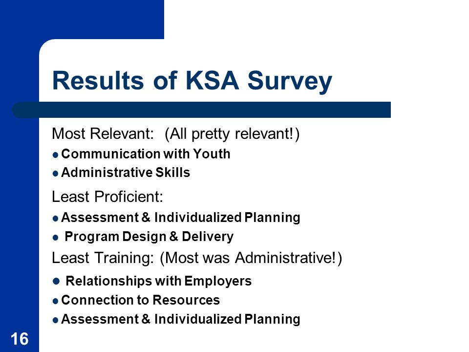 16 Results of KSA Survey Most Relevant: (All pretty relevant!) Communication with Youth Administrative Skills Least Proficient: Assessment & Individualized Planning Program Design & Delivery Least Training: (Most was Administrative!) Relationships with Employers Connection to Resources Assessment & Individualized Planning