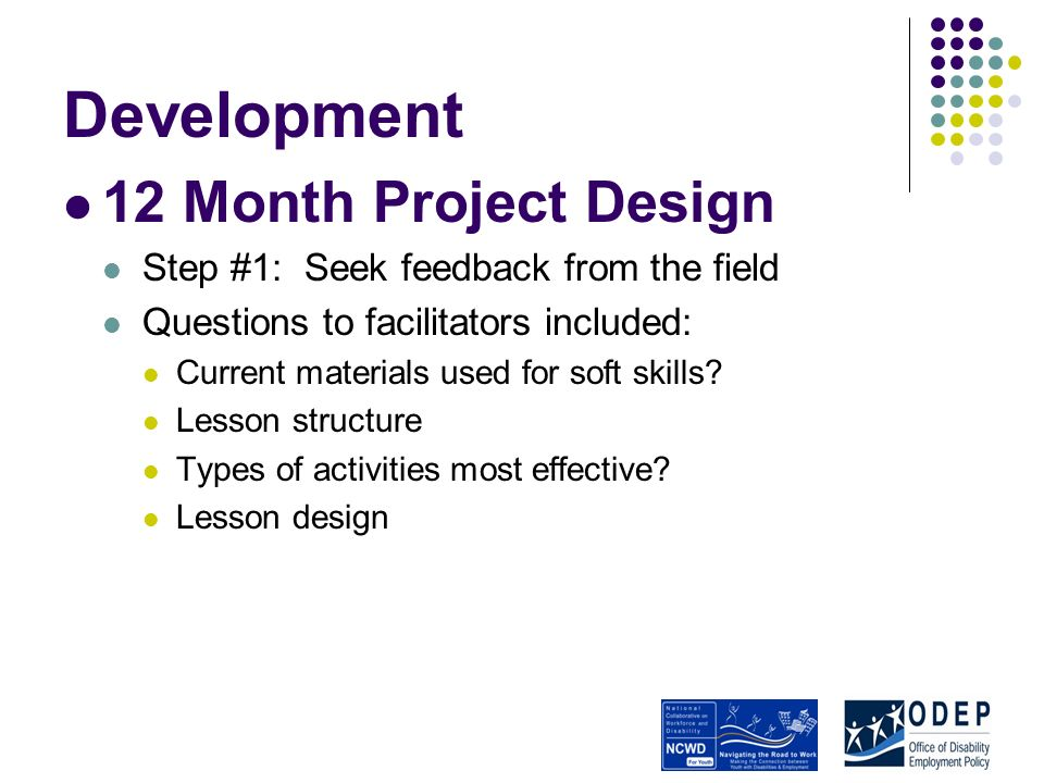 Development 12 Month Project Design Step #1: Seek feedback from the field Questions to facilitators included: Current materials used for soft skills.