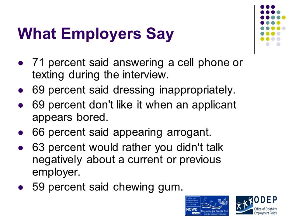 What Employers Say 71 percent said answering a cell phone or texting during the interview.