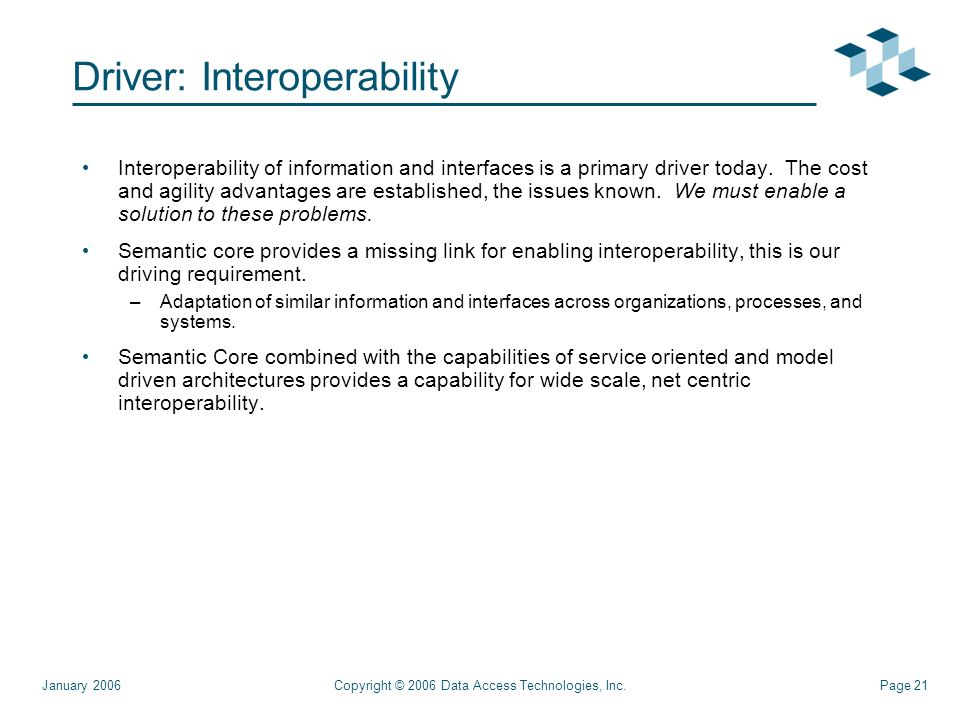 Page 21Copyright © 2006 Data Access Technologies, Inc.January 2006 Driver: Interoperability Interoperability of information and interfaces is a primary driver today.