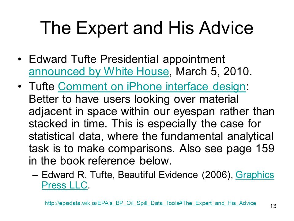 13 The Expert and His Advice Edward Tufte Presidential appointment announced by White House, March 5, 2010.