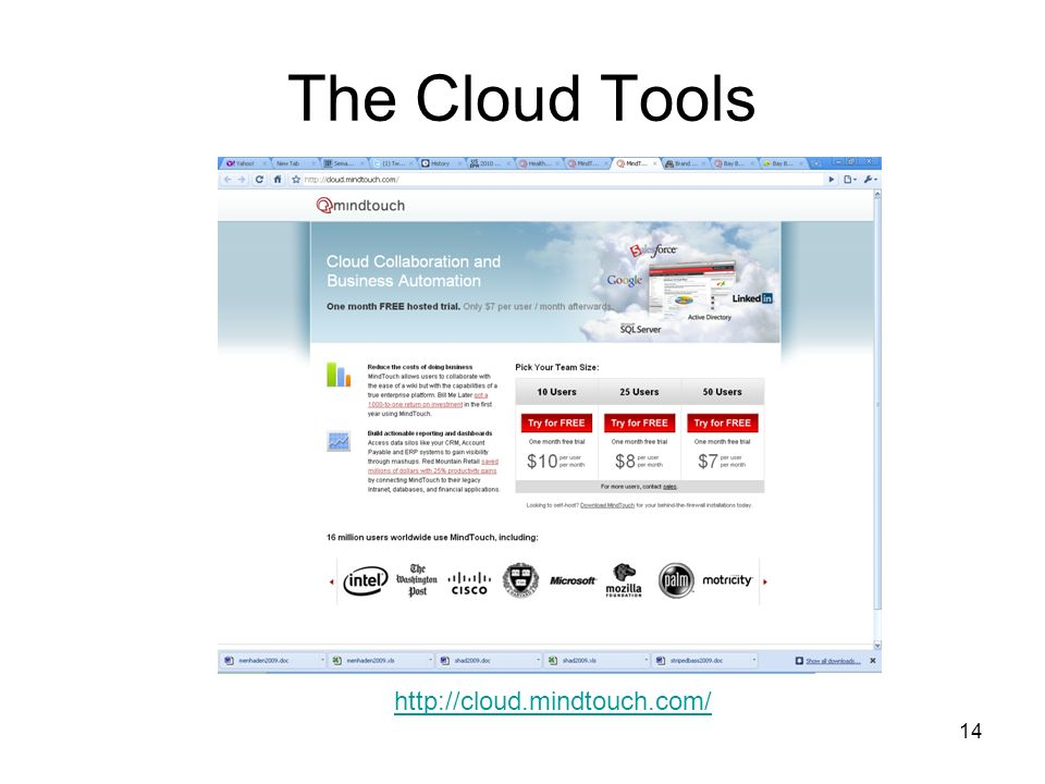 14 The Cloud Tools http://cloud.mindtouch.com/