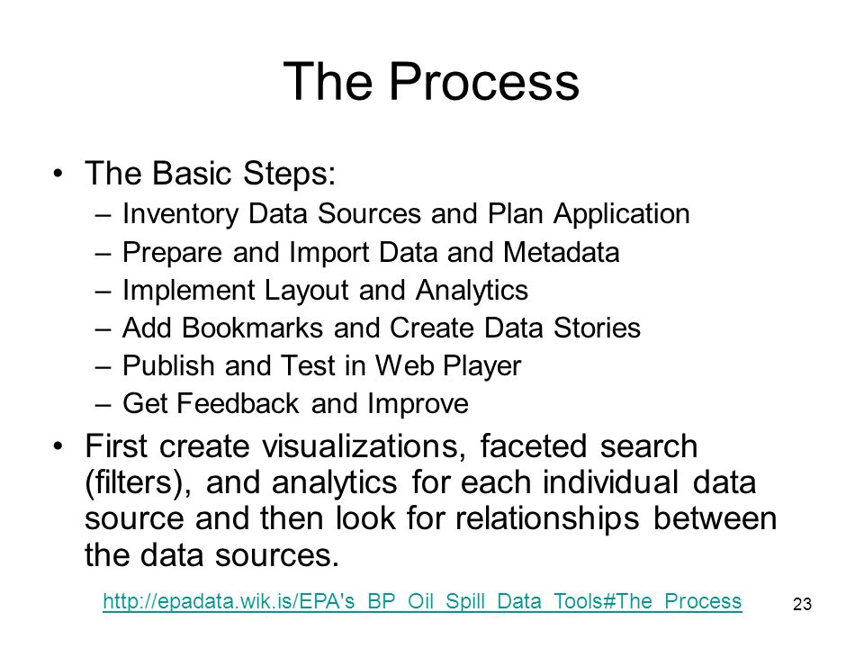 23 The Process The Basic Steps: –Inventory Data Sources and Plan Application –Prepare and Import Data and Metadata –Implement Layout and Analytics –Add Bookmarks and Create Data Stories –Publish and Test in Web Player –Get Feedback and Improve First create visualizations, faceted search (filters), and analytics for each individual data source and then look for relationships between the data sources.
