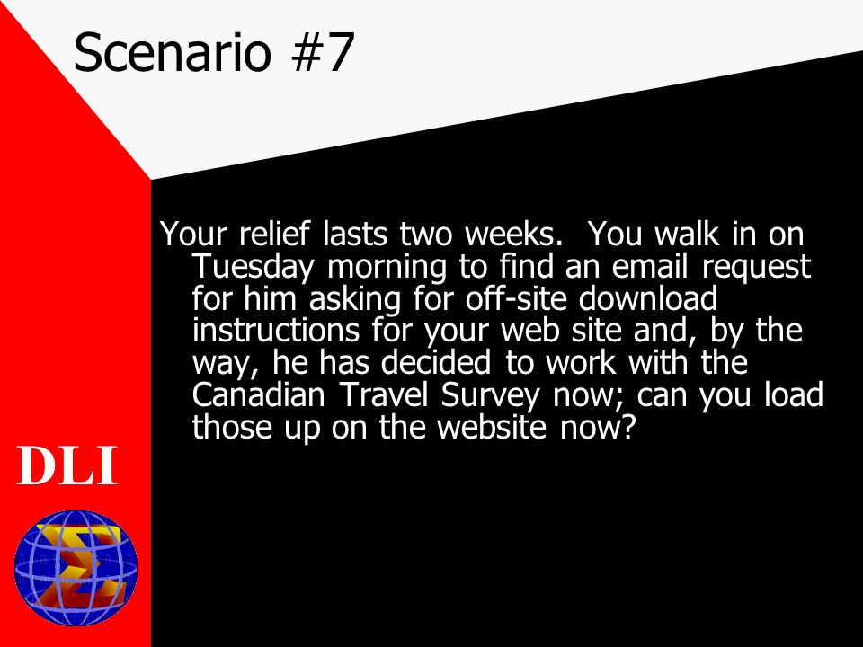 Scenario #7 Your relief lasts two weeks.