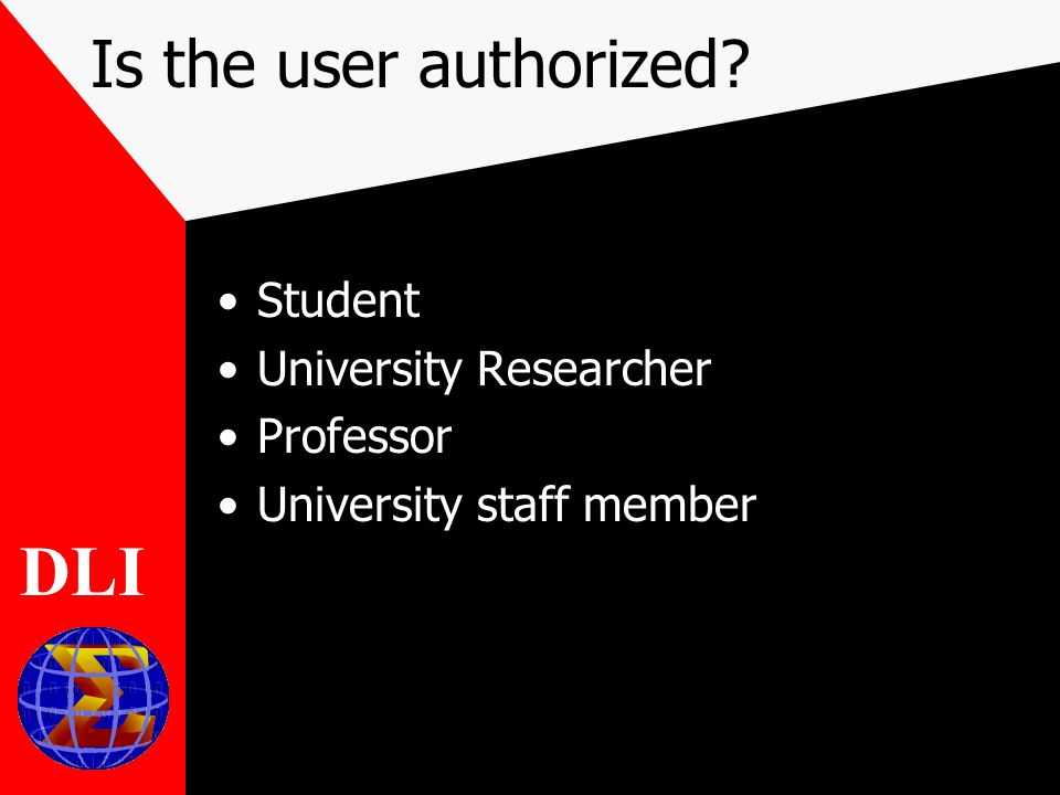 Is the user authorized Student University Researcher Professor University staff member DLI