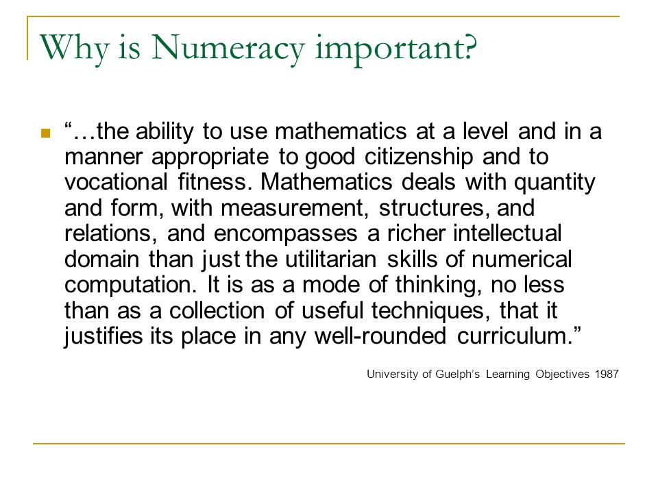 Why is Numeracy important.