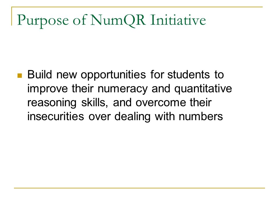 Purpose of NumQR Initiative Build new opportunities for students to improve their numeracy and quantitative reasoning skills, and overcome their insecurities over dealing with numbers