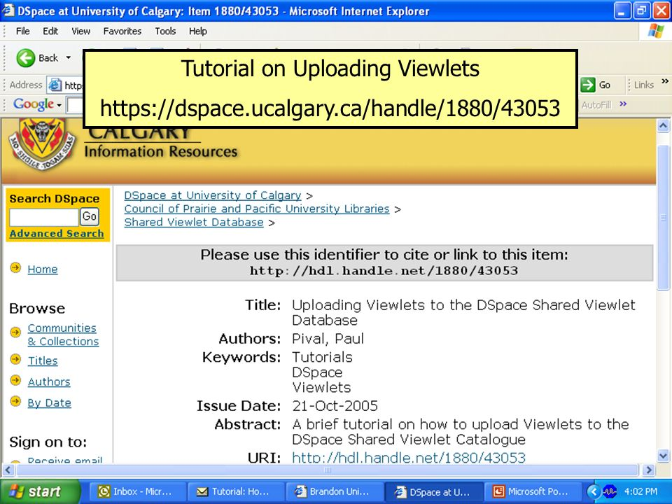 Tutorial on Uploading Viewlets https://dspace.ucalgary.ca/handle/1880/43053
