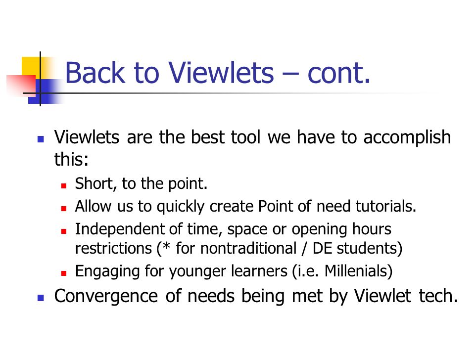 Back to Viewlets – cont.