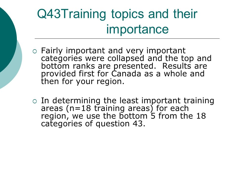 Q43Training topics and their importance Fairly important and very important categories were collapsed and the top and bottom ranks are presented.