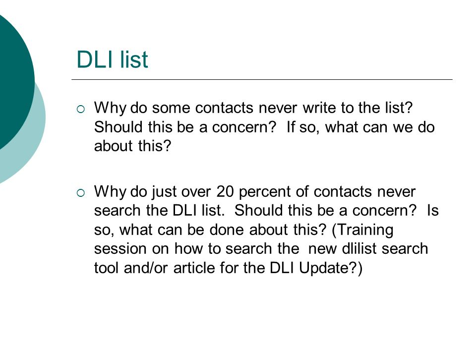 DLI list Why do some contacts never write to the list.
