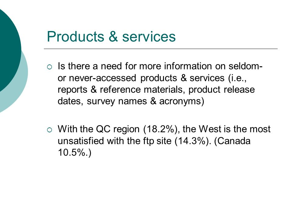 Products & services Is there a need for more information on seldom- or never-accessed products & services (i.e., reports & reference materials, product release dates, survey names & acronyms) With the QC region (18.2%), the West is the most unsatisfied with the ftp site (14.3%).