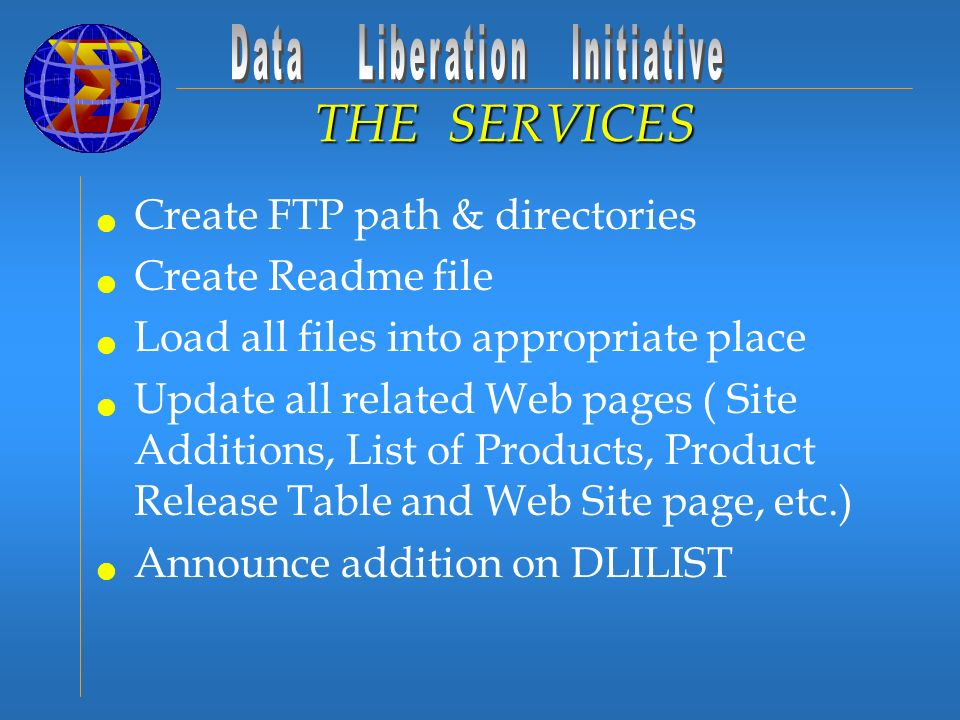 Create FTP path & directories Create Readme file Load all files into appropriate place Update all related Web pages ( Site Additions, List of Products, Product Release Table and Web Site page, etc.) Announce addition on DLILIST THE SERVICES
